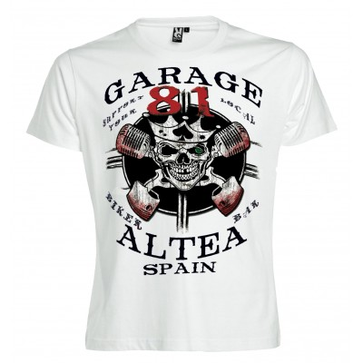 Hells Angels Garage Crowned Scull Support81 White T-Shirt