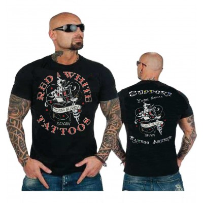 Hells Angels Red n' White Tattoo Support81 Black T-Shirt Front + Backprint