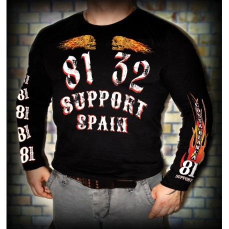 Hells Angels Support81 Black Long Sleeve T-Shirt Front and Backprint