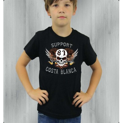 Hells Angels Support81 White Scull Black Children's T-Shirt
