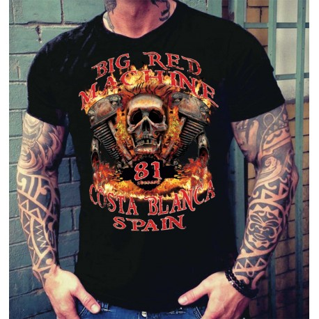 Hells Angels Big Red Machine Nuckle Support81 Black T-Shirt Black T-Shirt