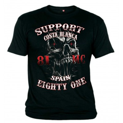 Hells Angels Big Red Machine Slim Scull Support81 Black T-Shirt