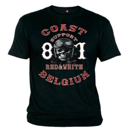 Hells Angels Coast Belgium Big Red Machine Helmet Scull Support81 T-Shirt