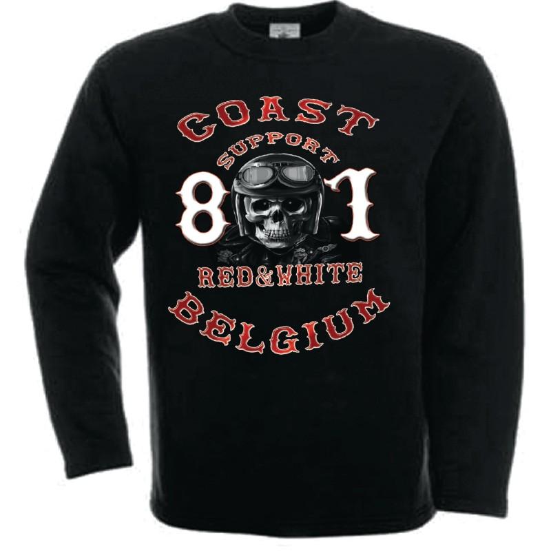 Hells Angels Coast Belgium Helmet scull Support81 sweatshirt black