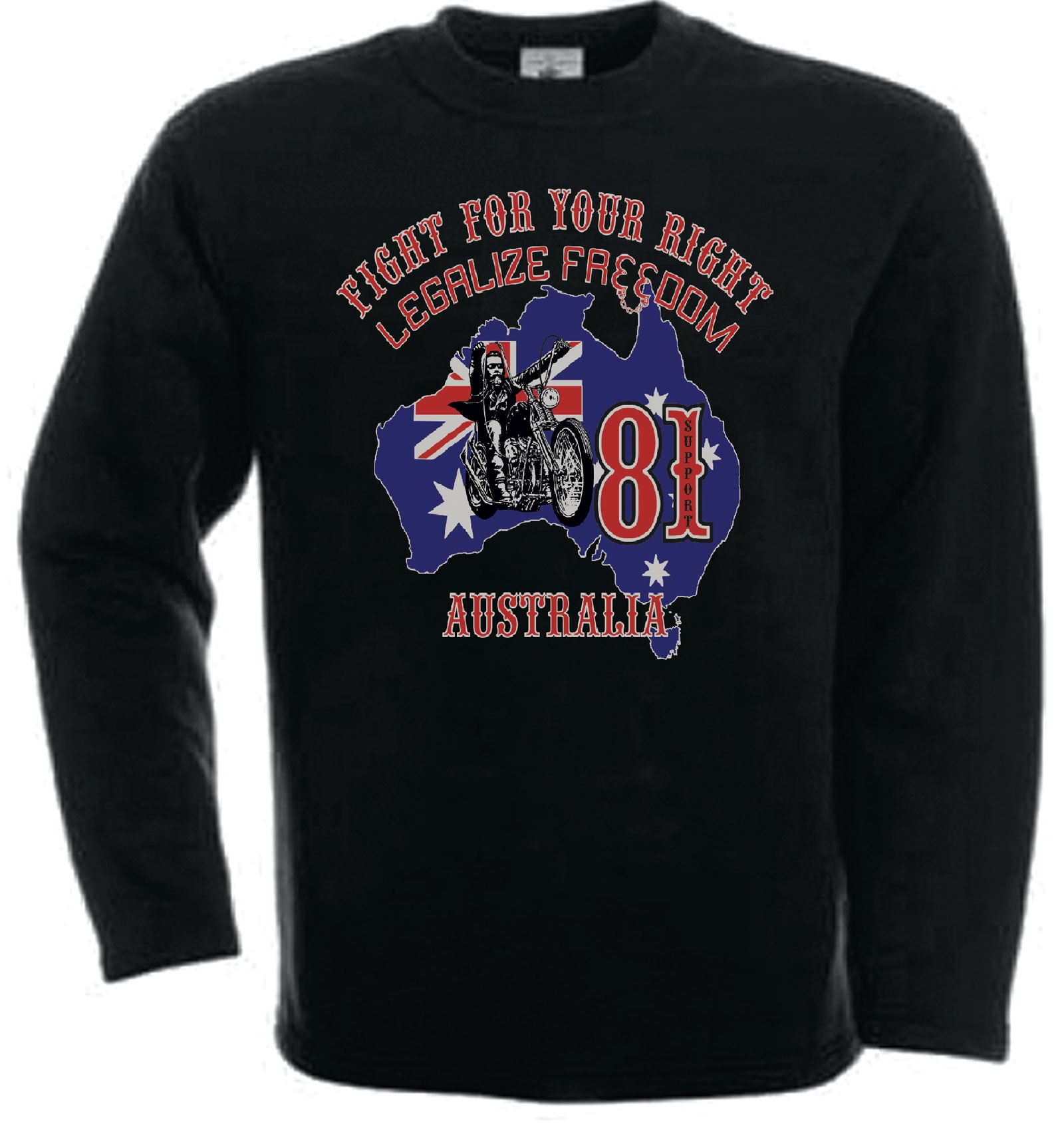 49 hells angels australia bhc support81 sweatshirt black. Black Bedroom Furniture Sets. Home Design Ideas