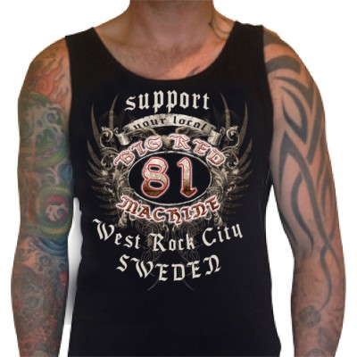 Hells Angels Sweden Crest West Rock City Singlet Support81 Big Red Machine™