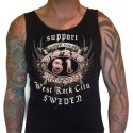 Hells Angels Sweden Crest West Rock City  Singlet Support81 Big Red Machine™