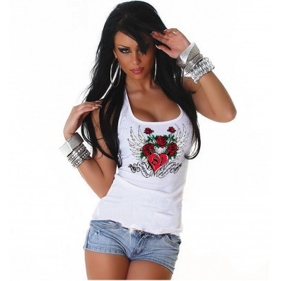 Hells Angels Timisoara Romania ladies white singlet