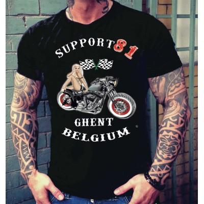 Hells Angels Ghent Belgium PinUp Camiseta
