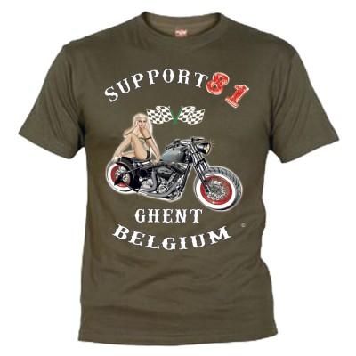 Hells Angels Ghent Belgium PinUp Camiseta Olive