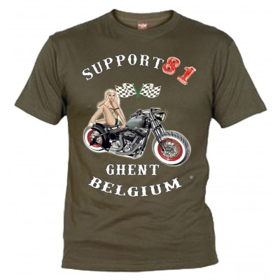 Hells Angels Ghent Belgium PinUp Support81 T-Shirt Olive
