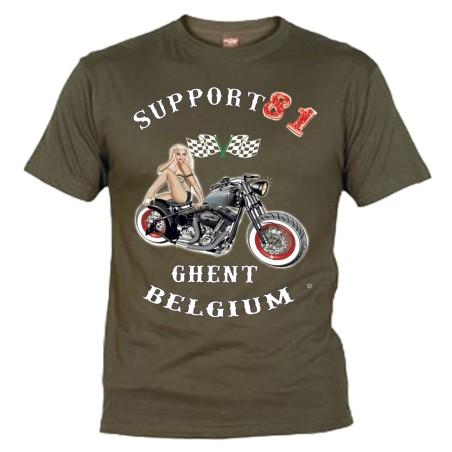 Hells Angels Ghent Belgium PinUp T-Shirt Olive