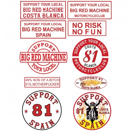Hells Angels 10 autocollant set Support Big Red Machine Costa Blanca