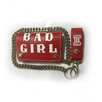 Hells Angels Support81 red white Bad Girl Wallet 13cm with Chain