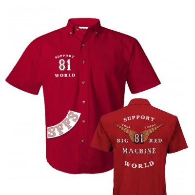 Hells Angels Big Red Machine Dickies Style Anniversary Wings Support81 Camisa