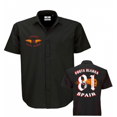 Hells Angels Big Red Machine Dickies Style Flaming Wings Support81 Camisa