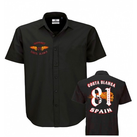 Hells Angels Big Red Machine Dickies Style Flaming Wings  Support81 Shirt