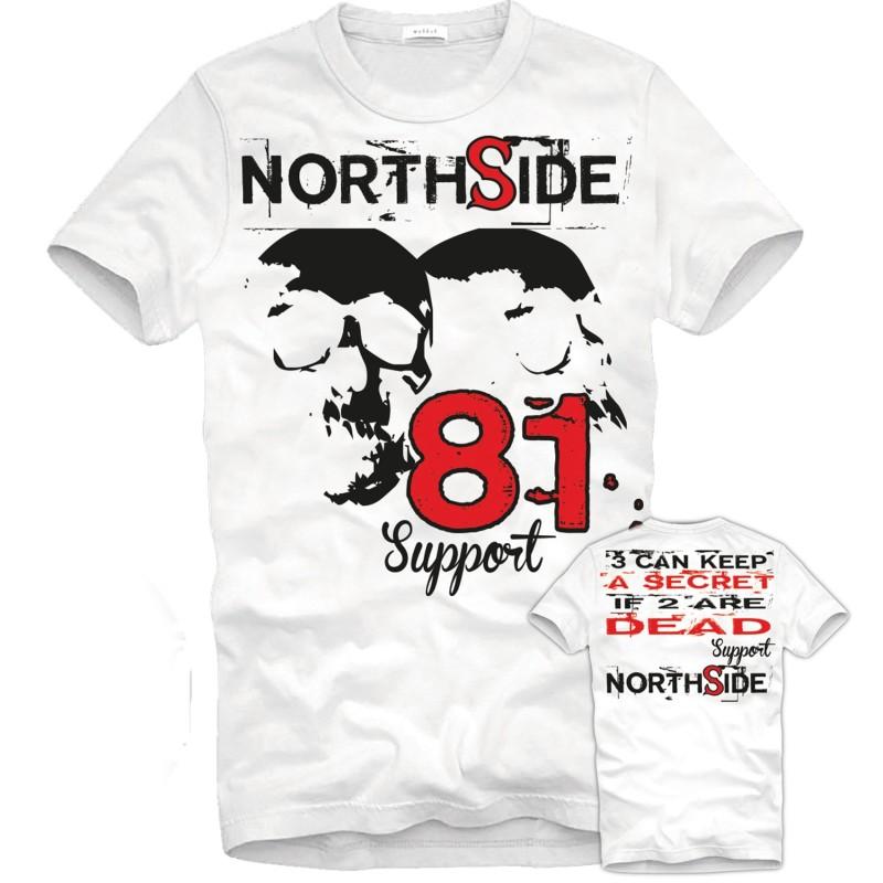 Hells Angels NorthSide Spain white T-Shirt model 1 Front + Back side printed