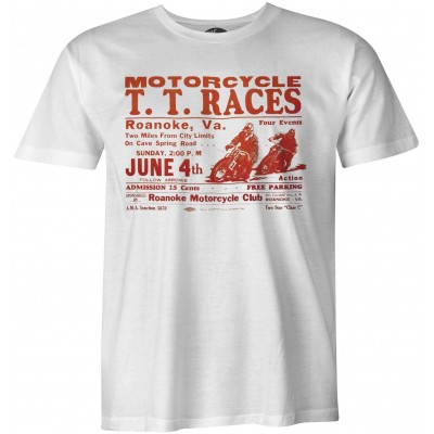 TT Races Roanoke Vintage biker camiseta