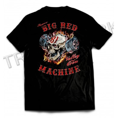 Hells Angels Support81 Andorra Piston Skull Black T-Shirt Big Red Machine