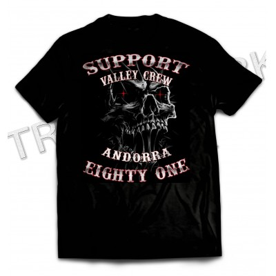 Andorra Slimey Skull Black T-Shirt Support 81 Big Red Machine Hells Angels