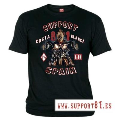 Hells Angels Ghost Rider Nero T-Shirt Support81 Big Red Machine 1%