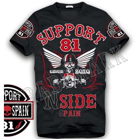 Hells Angels NorthSide Spain black T-Shirt model 7 Front + sleeves printed