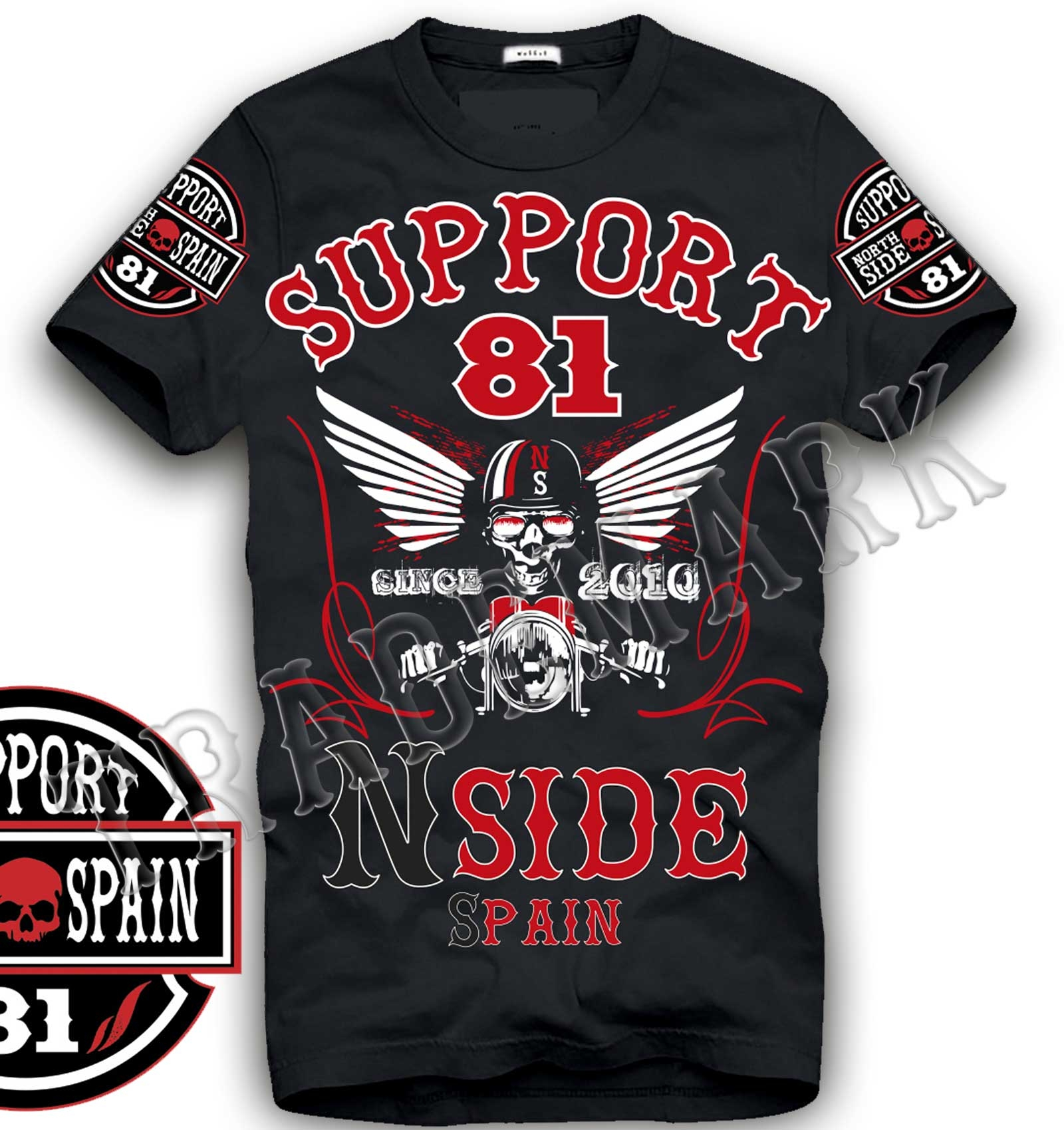49 hells angels northside spain schwarz t shirt model 7. Black Bedroom Furniture Sets. Home Design Ideas