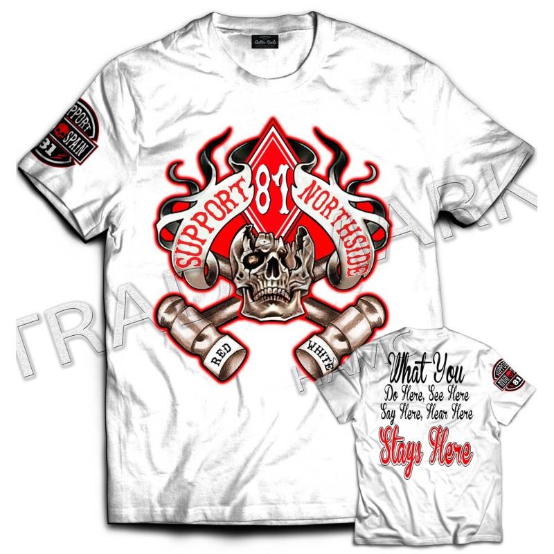 Hells Angels NorthSide Spain T-Shirt model 13 Front + Backside + sleeve printed
