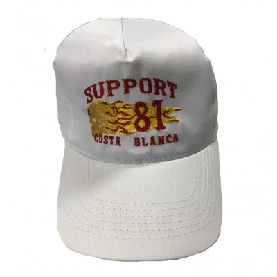 Hells Angels Cap Support81 Costa Blanca flaming scull embroidery baseball cap white