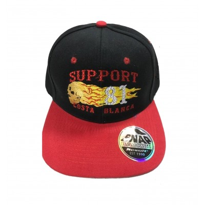 Hells Angels Cap Support 81 Costa Blanca flaming scull  embroidery baseball cap  black