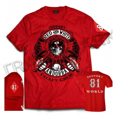 Hells Angels Andorra Spain Camiseta roja model 5 Front + Backside + sleeve