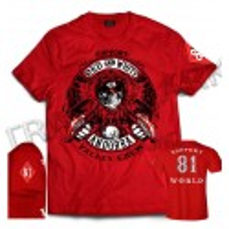 Hells Angels Andorra Spain Red T-Shirt model 5 Front + Backside + sleeve