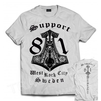 Hells Angels Sweden West Rock City Support81 White T-Shirt front + back
