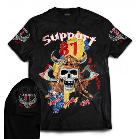 Hells Angels Sweden West Rock City Support81 Black T-Shirt front + sleeves