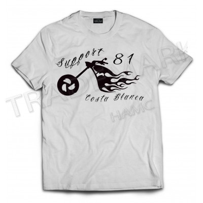 Flame Bike White T-Shirt Support81 Big Red Machine Hells Angels