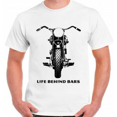 Motorbike Life Behind Bars - Mens Funny T-Shirt Superbike Motorcycle Biker Bike