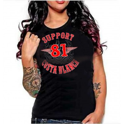 Hells Angels Support 81 Bomber Flames Ladies T-Shirt