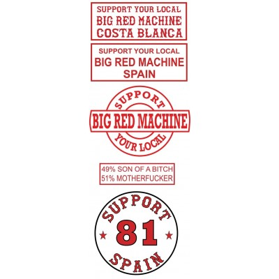Hells Angels 5 sticker set Support Big Red Machine Costa Blanca