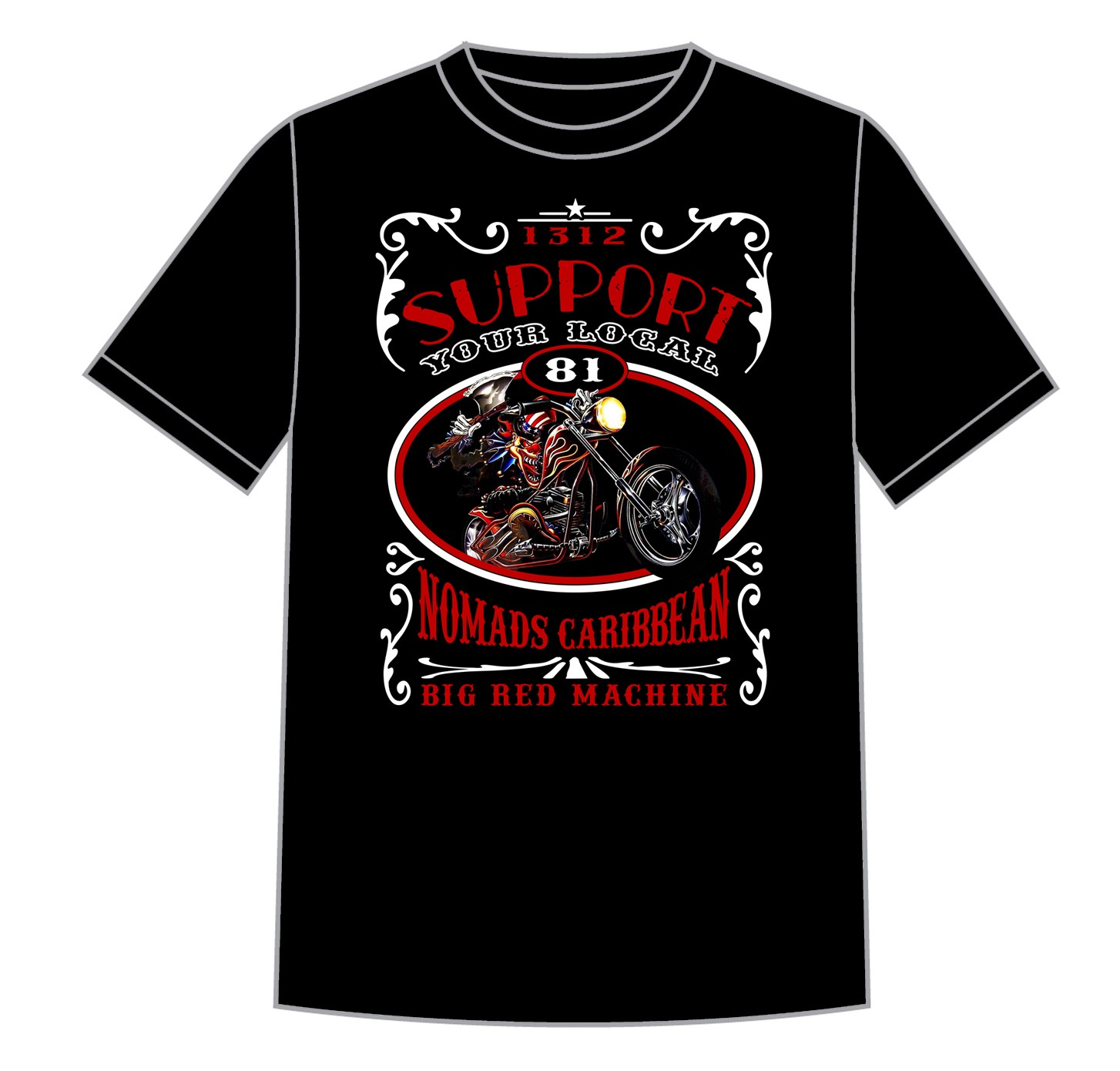Details about 01 Hells Angels Nomads Caribbean T Shirt model 7 black