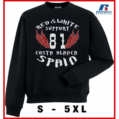 Hells Angels 81withRed Wings Support81 sweater Big Red Machine Black