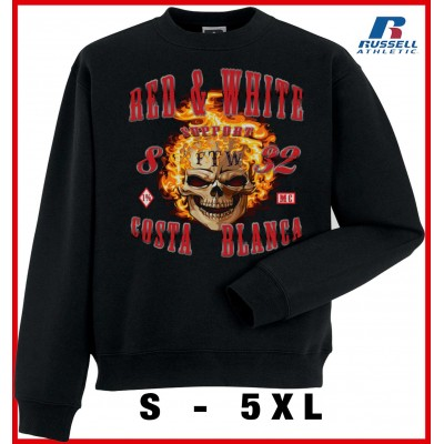 Hells Angels Fire Scull Support81 sweater Big Red Machine Black