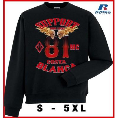 Hells Angels MC1% Support81 Big Red Machine sudadera negra