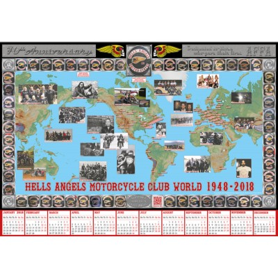Hells Angels MC World 70 Years Anniversary support 81 Poster Calendario 2018