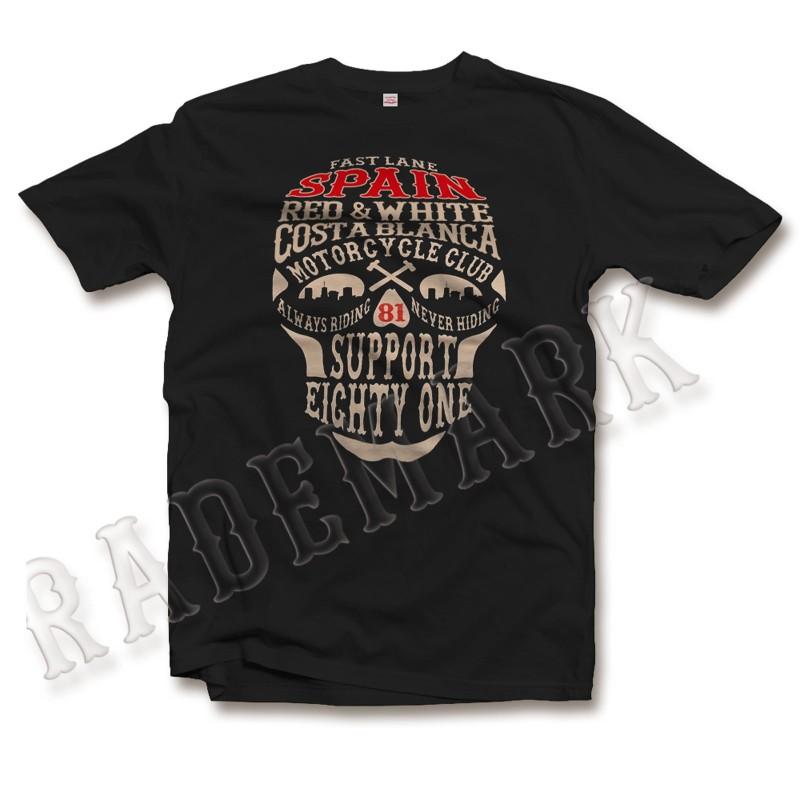 Hells Angels Support 81 Black T-shirt 3 Skulls Flame Tribal