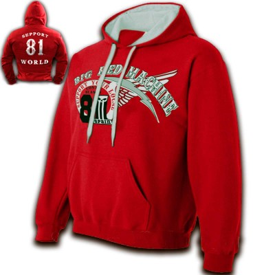 Hells Angels 81 Support81 Hoodie Big Red Machine Red - White