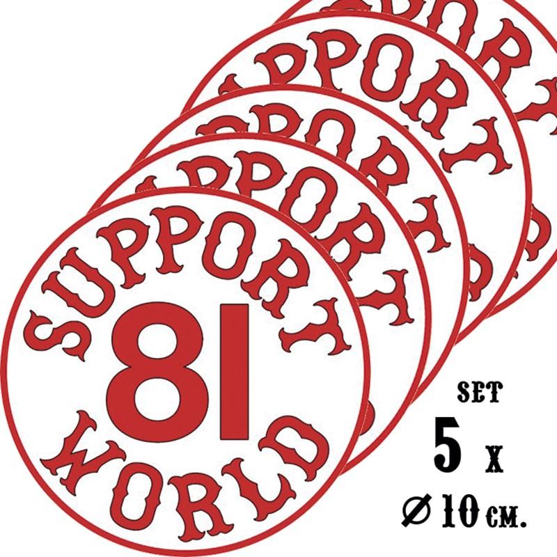 Hells Angels 5 stickers Support 81 World 10cm Round