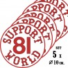 Hells Angels 5 stickers Support 81 World 10cm Round