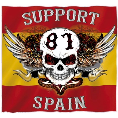 Hells Angels sticker Support 81 Spain Flag adhesivo 9cm.
