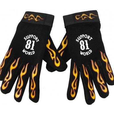 Handschuhe Hells Angels Support 81 Neopren-PolyLeder Mechanic Flames